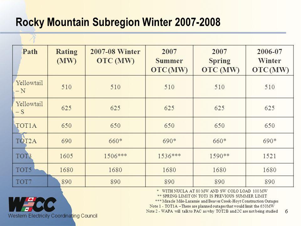 Western Electricity Coordinating Council 6 Rocky Mountain Subregion Winter 2007-2008 PathRating (MW) 2007-08 Winter OTC (MW) 2007 Summer OTC (MW) 2007