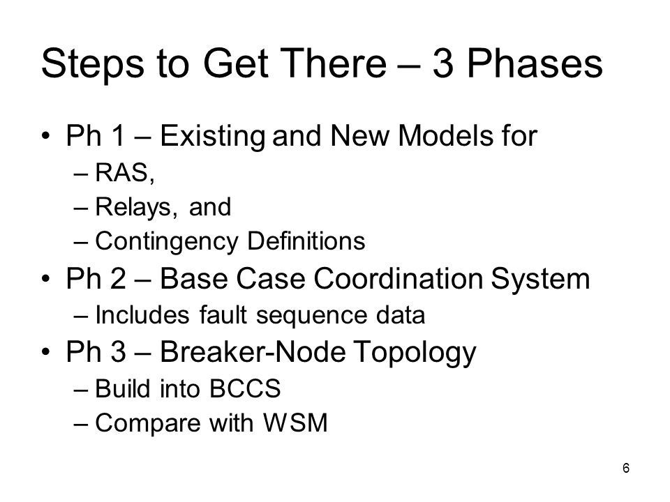 6 Steps to Get There – 3 Phases Ph 1 – Existing and New Models for –RAS, –Relays, and –Contingency Definitions Ph 2 – Base Case Coordination System –I