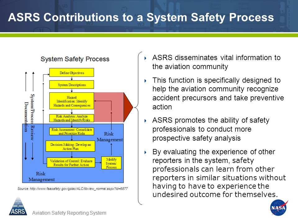 Aviation Safety Reporting System ASRS Contributions to a System Safety Process ASRS disseminates vital information to the aviation community This function is specifically designed to help the aviation community recognize accident precursors and take preventive action ASRS promotes the ability of safety professionals to conduct more prospective safety analysis By evaluating the experience of other reporters in the system, safety professionals can learn from other reporters in similar situations without having to have to experience the undesired outcome for themselves.