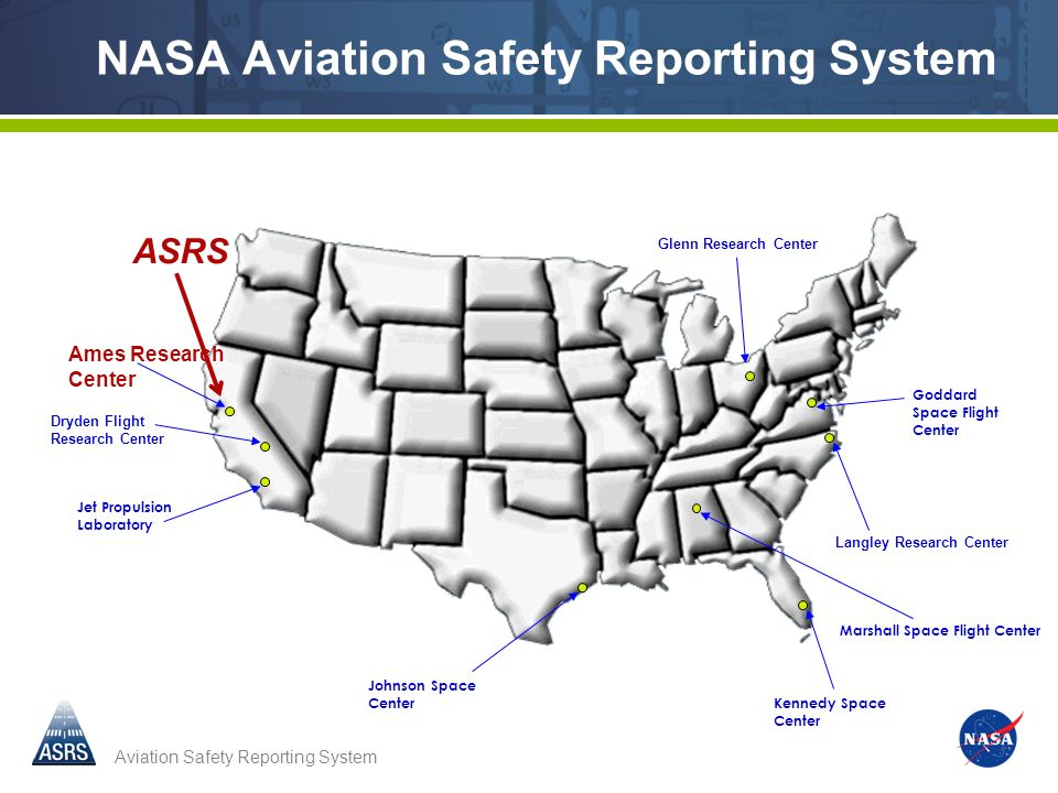 Aviation Safety Reporting System Ames Research Center Dryden Flight Research Center Langley Research Center Glenn Research Center Jet Propulsion Laboratory Johnson Space Center Marshall Space Flight Center Goddard Space Flight Center Kennedy Space Center NASA Aviation Safety Reporting System ASRS