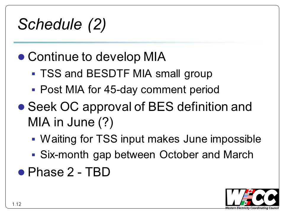 Schedule (2) Continue to develop MIA TSS and BESDTF MIA small group Post MIA for 45-day comment period Seek OC approval of BES definition and MIA in June ( ) Waiting for TSS input makes June impossible Six-month gap between October and March Phase 2 - TBD 1.12