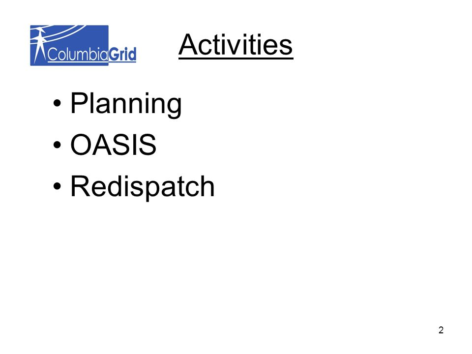 Activities Planning OASIS Redispatch 2
