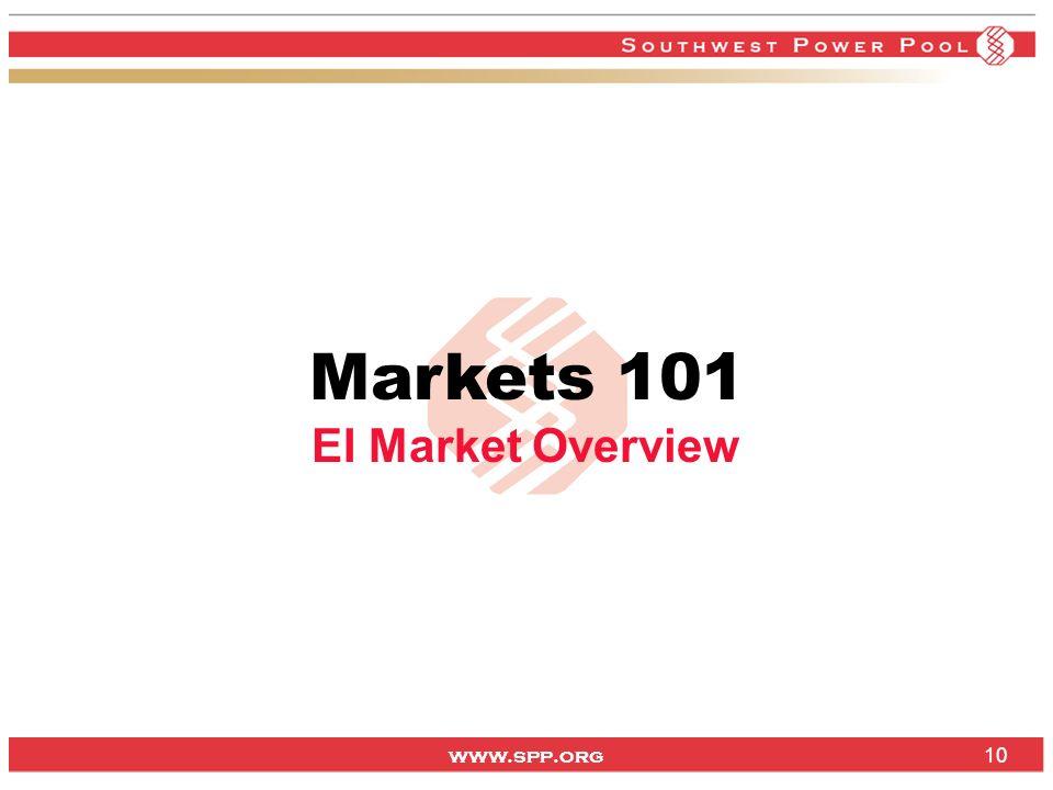 www.spp.org 10 Markets 101 EI Market Overview