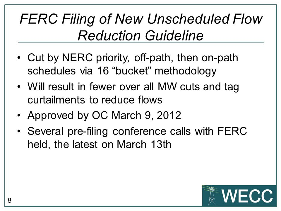 9 FERC Pre-Filing Conference FERC Staff indicated problems with 16 bucket methodology.
