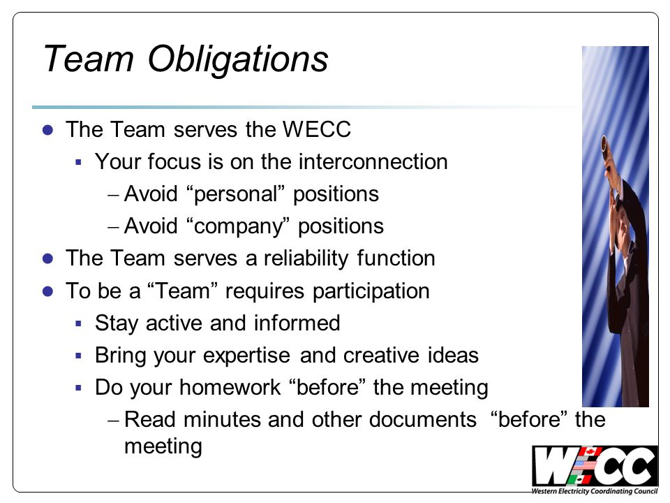 Team Obligations The Team serves the WECC Your focus is on the interconnection Avoid personal positions Avoid company positions The Team serves a reli