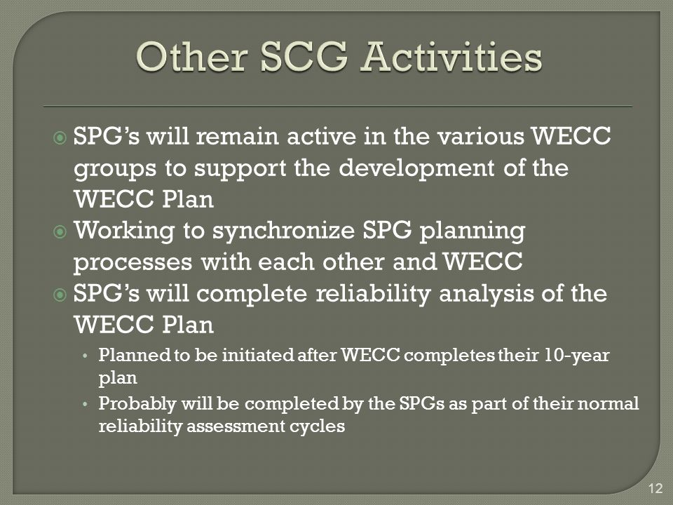 SPGs will remain active in the various WECC groups to support the development of the WECC Plan Working to synchronize SPG planning processes with each other and WECC SPGs will complete reliability analysis of the WECC Plan Planned to be initiated after WECC completes their 10-year plan Probably will be completed by the SPGs as part of their normal reliability assessment cycles 12