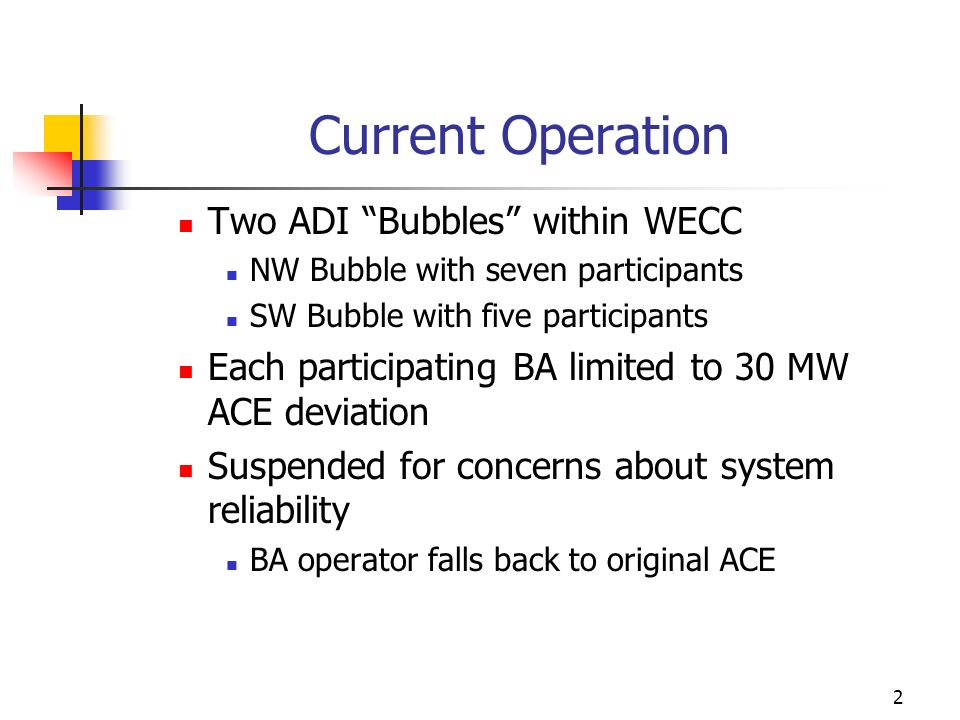 2 Current Operation Two ADI Bubbles within WECC NW Bubble with seven participants SW Bubble with five participants Each participating BA limited to 30