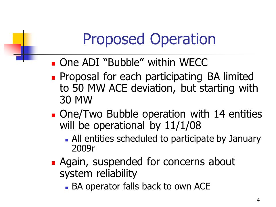 4 Proposed Operation One ADI Bubble within WECC Proposal for each participating BA limited to 50 MW ACE deviation, but starting with 30 MW One/Two Bub