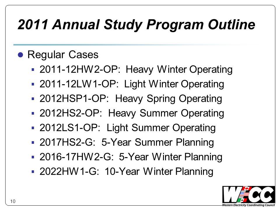 10 2011 Annual Study Program Outline Regular Cases 2011-12HW2-OP: Heavy Winter Operating 2011-12LW1-OP: Light Winter Operating 2012HSP1-OP: Heavy Spri