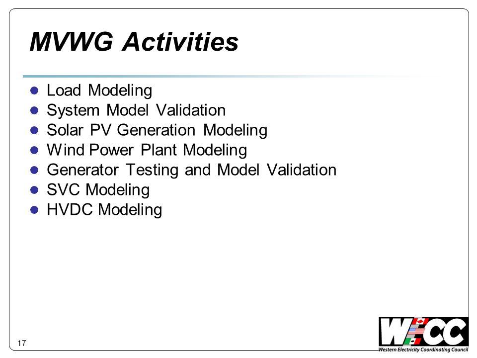 17 MVWG Activities Load Modeling System Model Validation Solar PV Generation Modeling Wind Power Plant Modeling Generator Testing and Model Validation