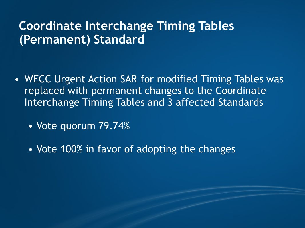 Coordinate Interchange Timing Tables (Permanent) Standard WECC Urgent Action SAR for modified Timing Tables was replaced with permanent changes to the