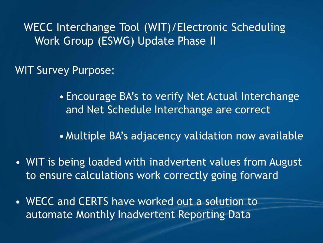 WECC Interchange Tool (WIT)/Electronic Scheduling Work Group (ESWG) Update Phase II WIT Survey Purpose: Encourage BAs to verify Net Actual Interchange