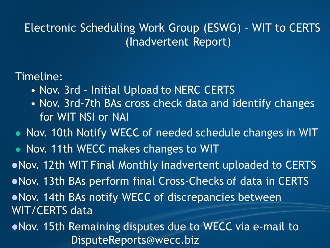 Electronic Scheduling Work Group (ESWG) – WIT to CERTS (Inadvertent Report) Timeline: Nov. 3rd – Initial Upload to NERC CERTS Nov. 3rd-7th BAs cross c