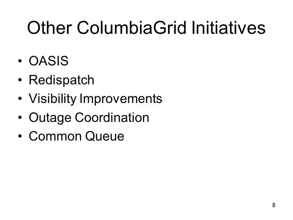 Other ColumbiaGrid Initiatives OASIS Redispatch Visibility Improvements Outage Coordination Common Queue 8