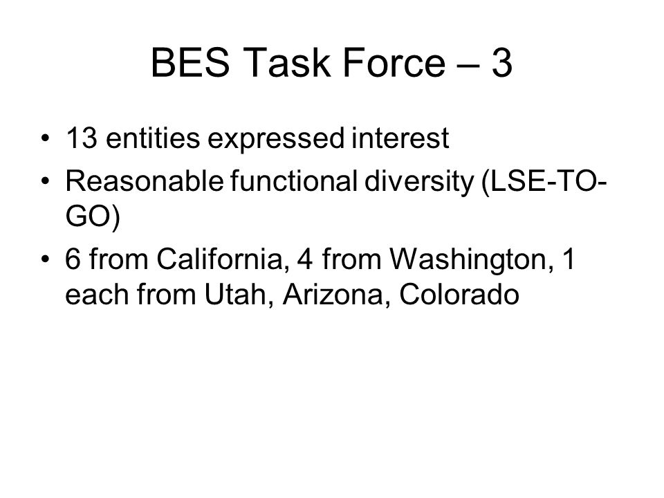 BES Task Force – 3 13 entities expressed interest Reasonable functional diversity (LSE-TO- GO) 6 from California, 4 from Washington, 1 each from Utah, Arizona, Colorado