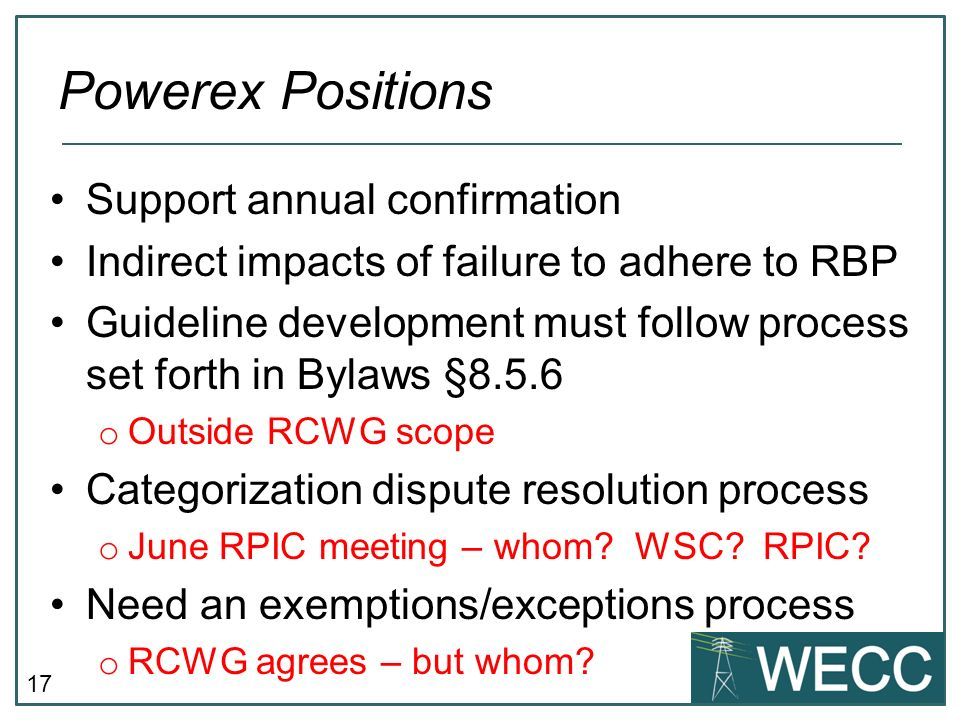 17 Support annual confirmation Indirect impacts of failure to adhere to RBP Guideline development must follow process set forth in Bylaws §8.5.6 o Out