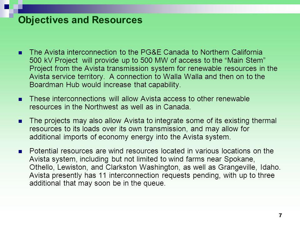 7 Objectives and Resources The Avista interconnection to the PG&E Canada to Northern California 500 kV Project will provide up to 500 MW of access to the Main Stem Project from the Avista transmission system for renewable resources in the Avista service territory.