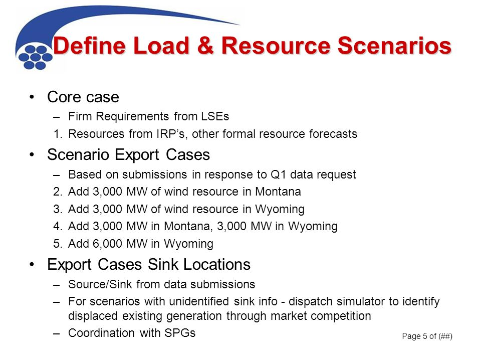 Define Load & Resource Scenarios Core case –Firm Requirements from LSEs 1.Resources from IRPs, other formal resource forecasts Scenario Export Cases –