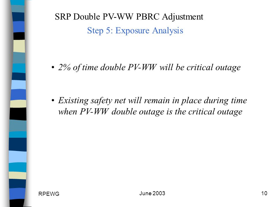 RPEWG June 200310 SRP Double PV-WW PBRC Adjustment 2% of time double PV-WW will be critical outage Existing safety net will remain in place during time when PV-WW double outage is the critical outage Step 5: Exposure Analysis
