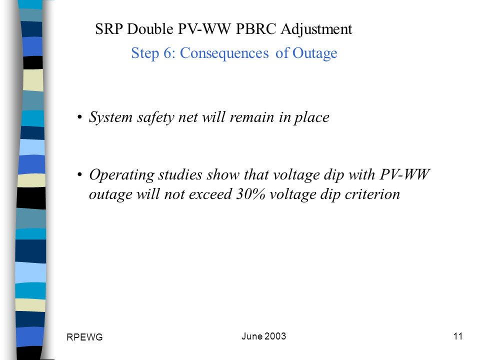 RPEWG June 200311 SRP Double PV-WW PBRC Adjustment Step 6: Consequences of Outage System safety net will remain in place Operating studies show that voltage dip with PV-WW outage will not exceed 30% voltage dip criterion
