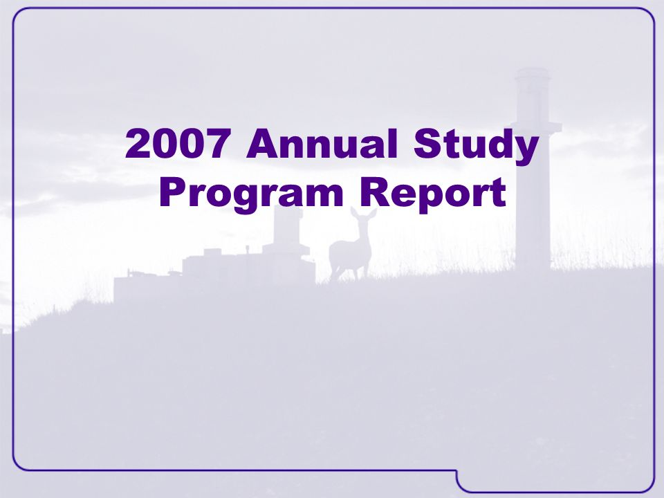 2007 Annual Study Program Report