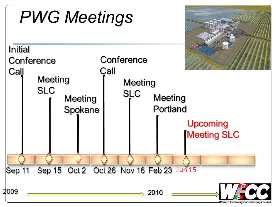PWG Meetings Initial Conference Call Meeting SLC 2009 Meeting Spokane Sep 11 Sep 15 Oct 2 Oct 26 Nov 16 Feb 23 2010 Meeting Portland Meeting SLC Confe