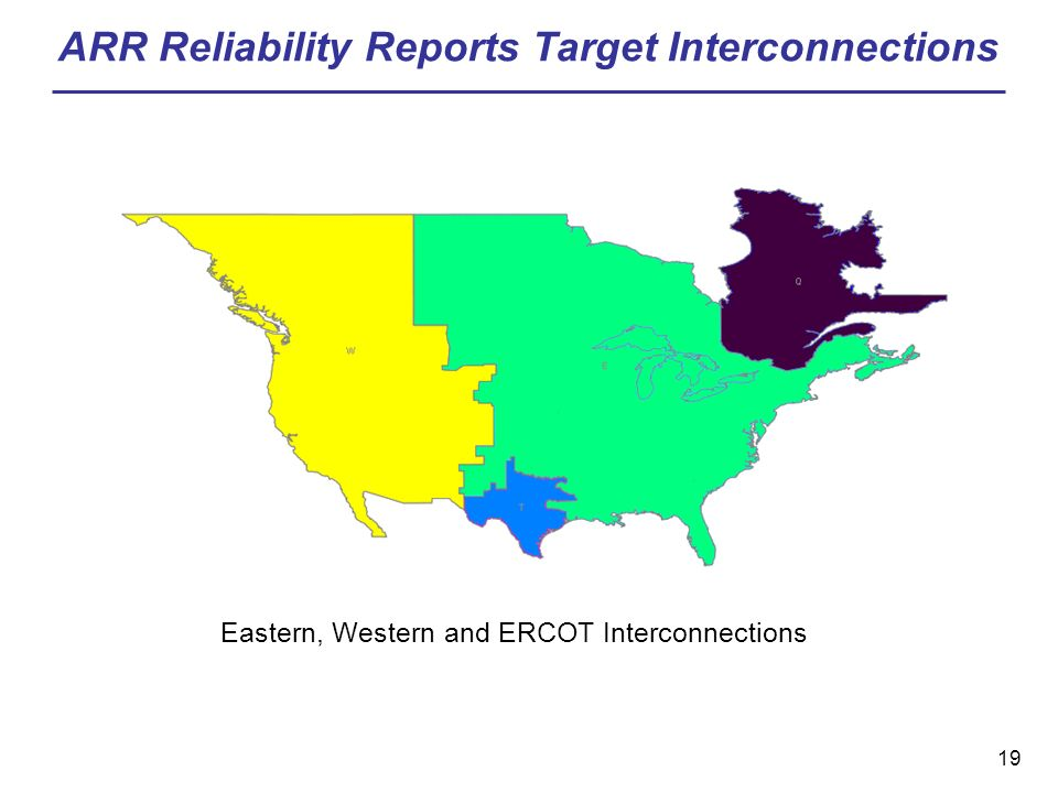 19 ARR Reliability Reports Target Interconnections Eastern, Western and ERCOT Interconnections
