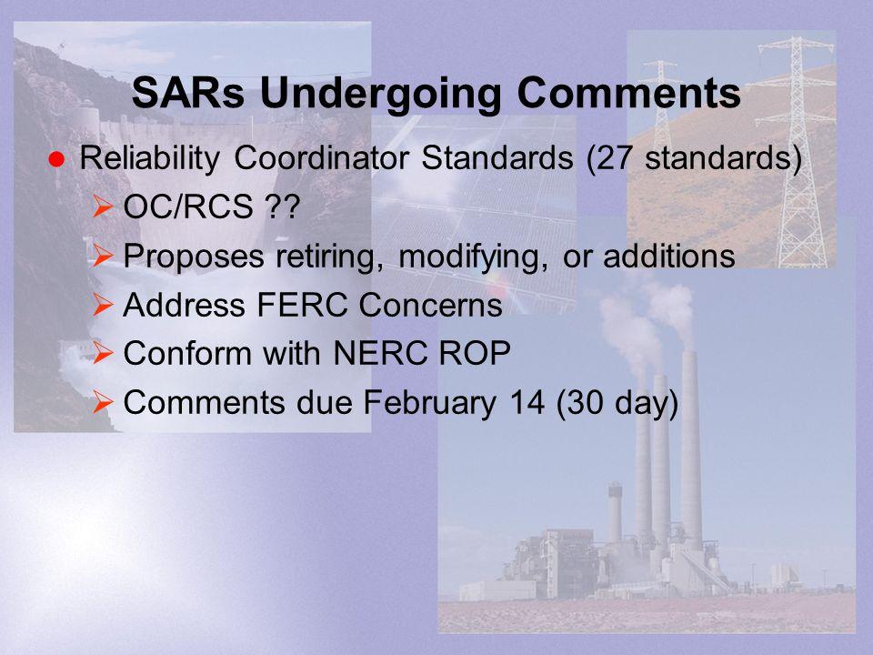 SARs Undergoing Comments Reliability Coordinator Standards (27 standards) OC/RCS .