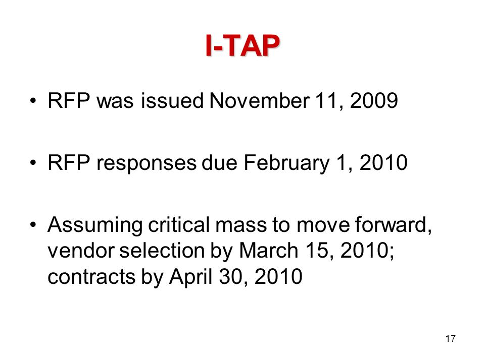 I-TAP RFP was issued November 11, 2009 RFP responses due February 1, 2010 Assuming critical mass to move forward, vendor selection by March 15, 2010;