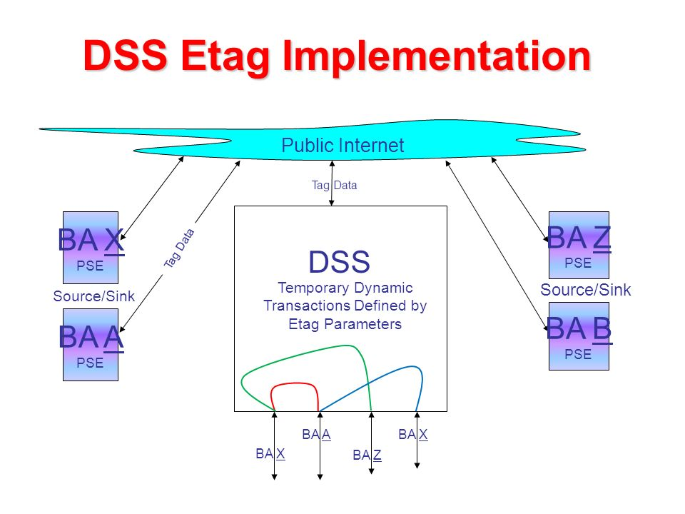 DSS Etag Implementation Source/Sink Public Internet BA X PSE BA A PSE BA Z PSE Source/Sink BA B PSE BA Z DSS BA X BA ABA X Temporary Dynamic Transactions Defined by Etag Parameters Tag Data