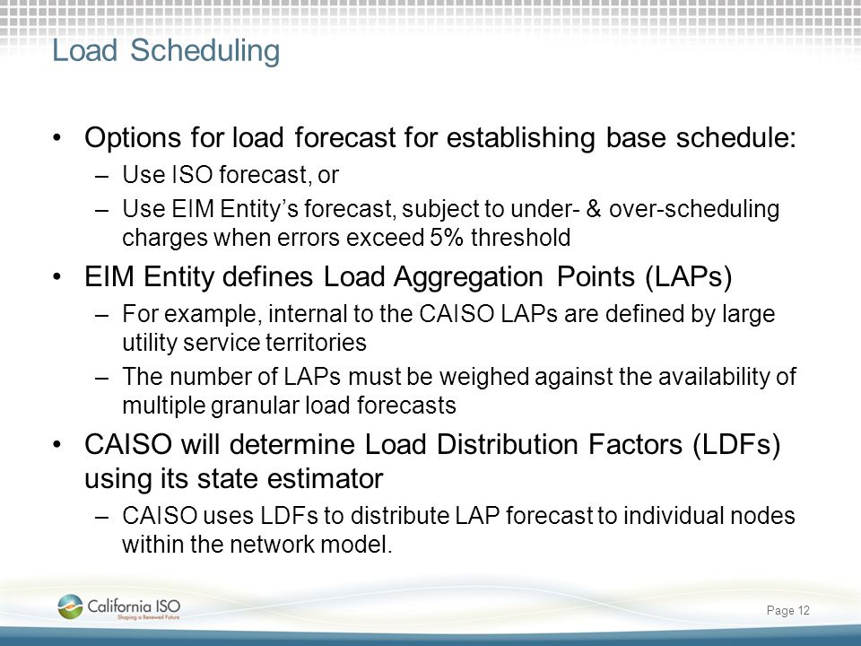 Load Scheduling Options for load forecast for establishing base schedule: –Use ISO forecast, or –Use EIM Entitys forecast, subject to under- & over-sc