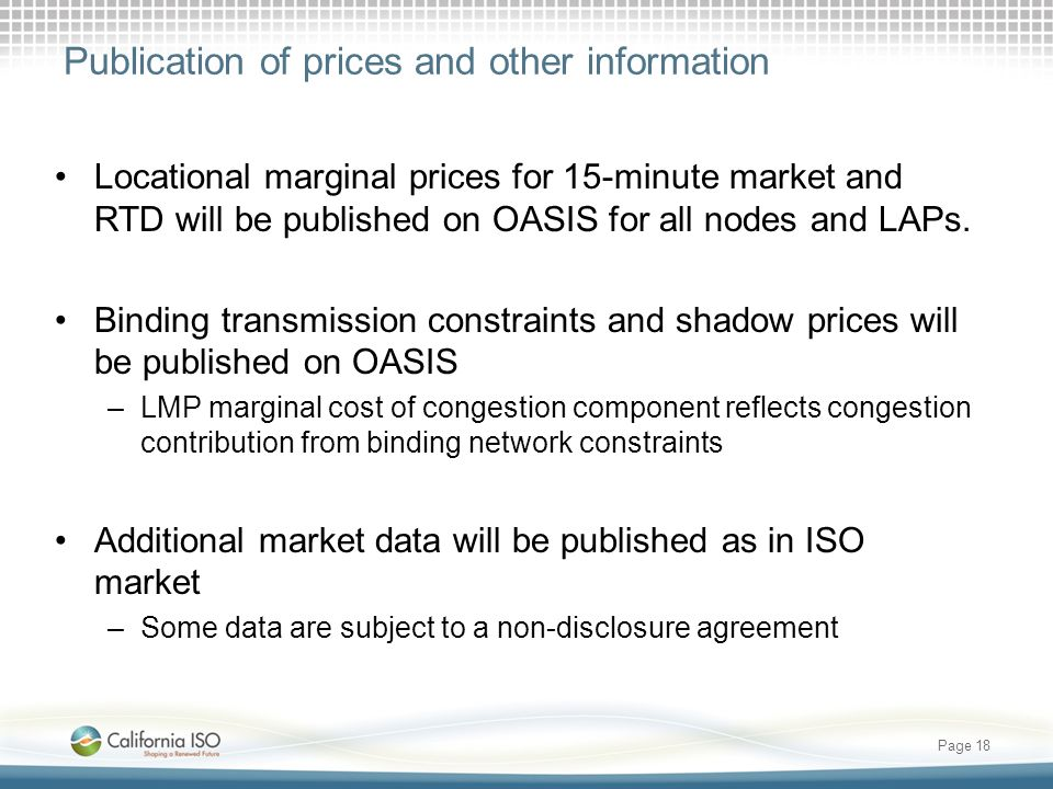 Publication of prices and other information Locational marginal prices for 15-minute market and RTD will be published on OASIS for all nodes and LAPs.