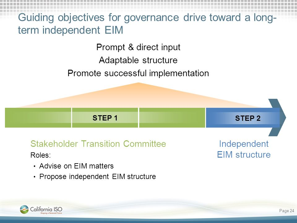 Guiding objectives for governance drive toward a long- term independent EIM Independent EIM structure Page 24 Stakeholder Transition Committee Roles: