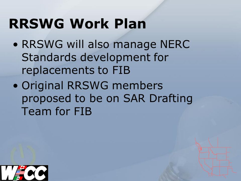 RRSWG Work Plan RRSWG will also manage NERC Standards development for replacements to FIB Original RRSWG members proposed to be on SAR Drafting Team for FIB