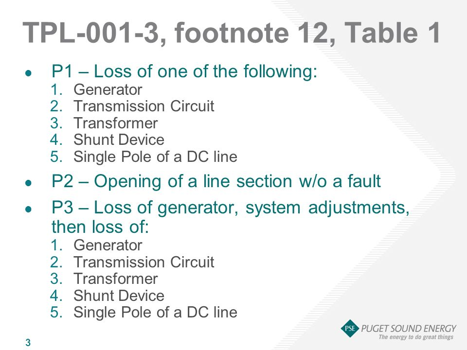 3 TPL-001-3, footnote 12, Table 1 P1 – Loss of one of the following: 1.Generator 2.Transmission Circuit 3.Transformer 4.Shunt Device 5.Single Pole of