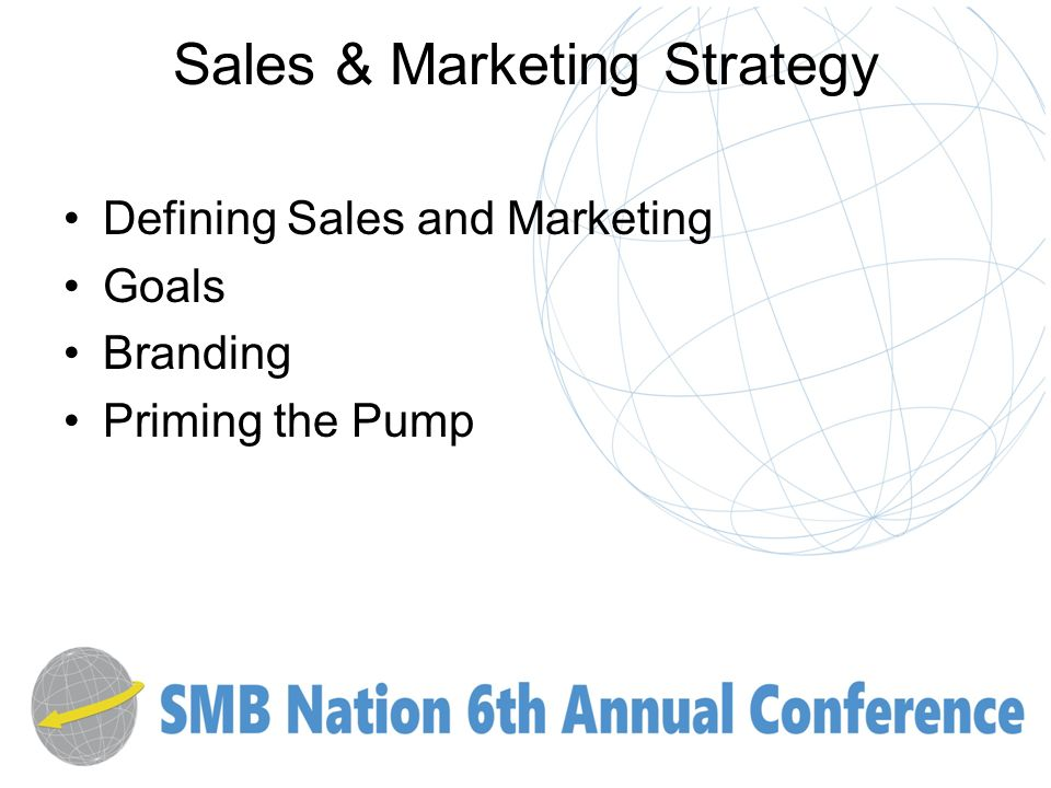 Sales & Marketing Strategy Defining Sales and Marketing Goals Branding Priming the Pump