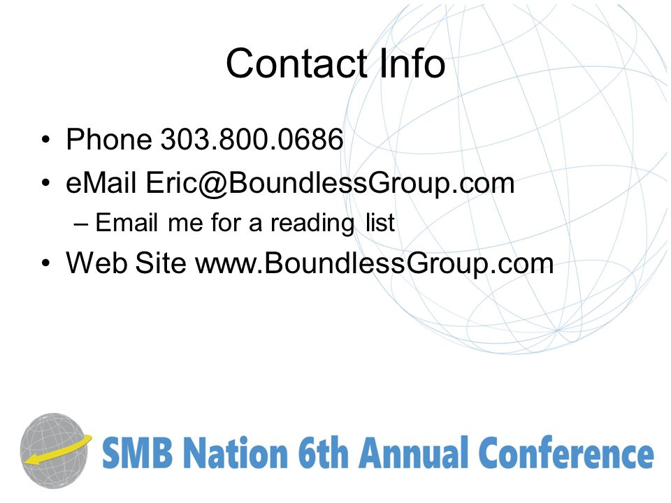 Contact Info Phone – me for a reading list Web Site