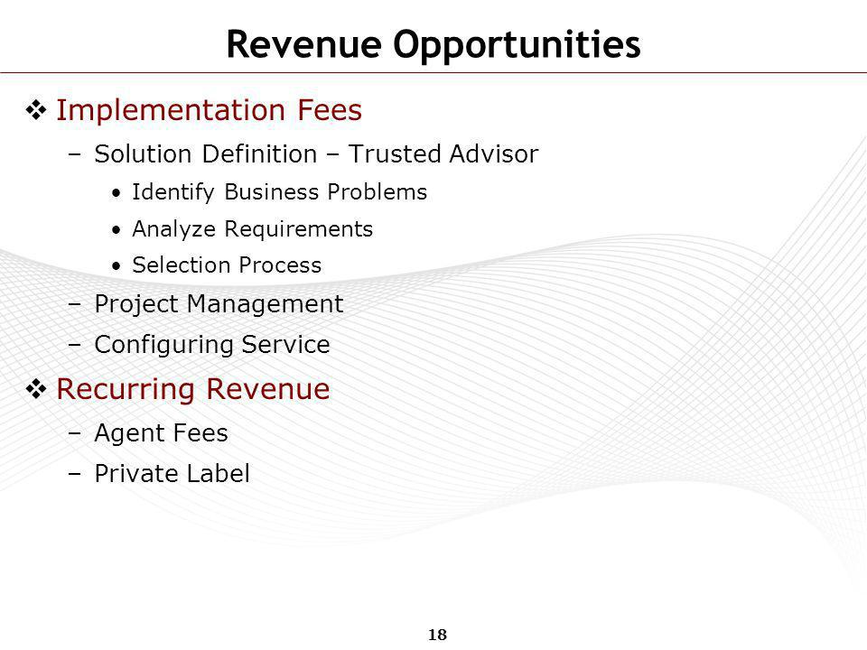 18 Revenue Opportunities Implementation Fees –Solution Definition – Trusted Advisor Identify Business Problems Analyze Requirements Selection Process