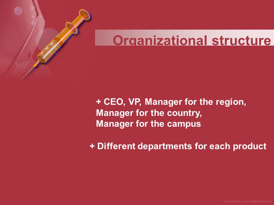 + CEO, VP, Manager for the region, Manager for the country, Manager for the campus + Different departments for each product Organizational structure Template by: www.itdepartment.biz