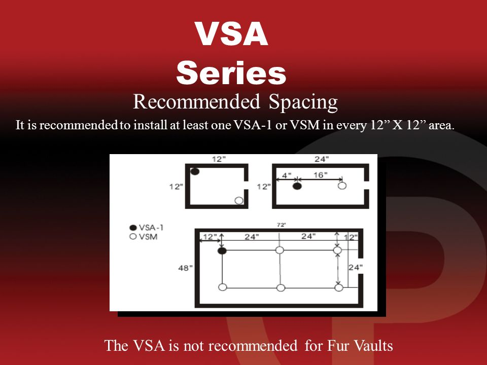VSA Series Recommended Spacing It is recommended to install at least one VSA-1 or VSM in every 12 X 12 area.