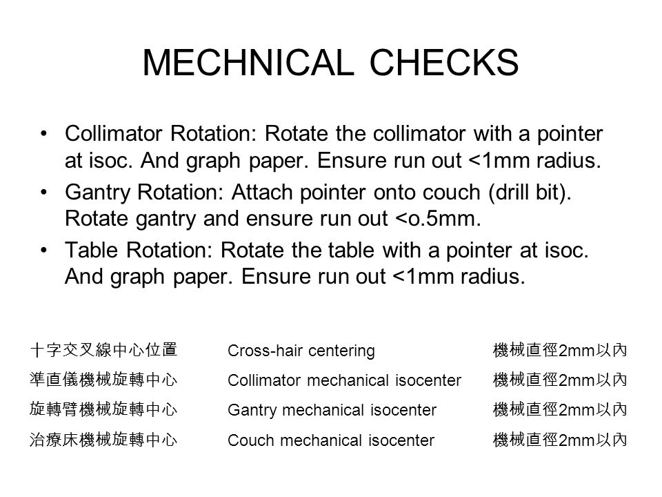 MECHNICAL CHECKS Collimator Rotation: Rotate the collimator with a pointer at isoc. And graph paper. Ensure run out <1mm radius. Gantry Rotation: Atta