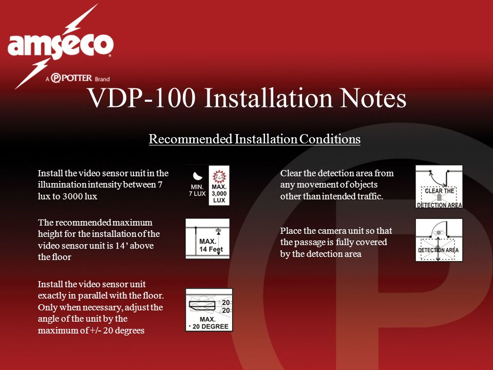VDP-100 Installation Notes Recommended Installation Conditions Install the video sensor unit in the illumination intensity between 7 lux to 3000 lux T