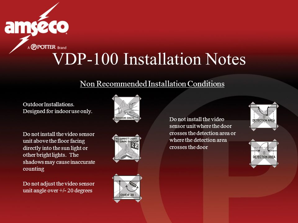 VDP-100 Installation Notes Non Recommended Installation Conditions Outdoor Installations.
