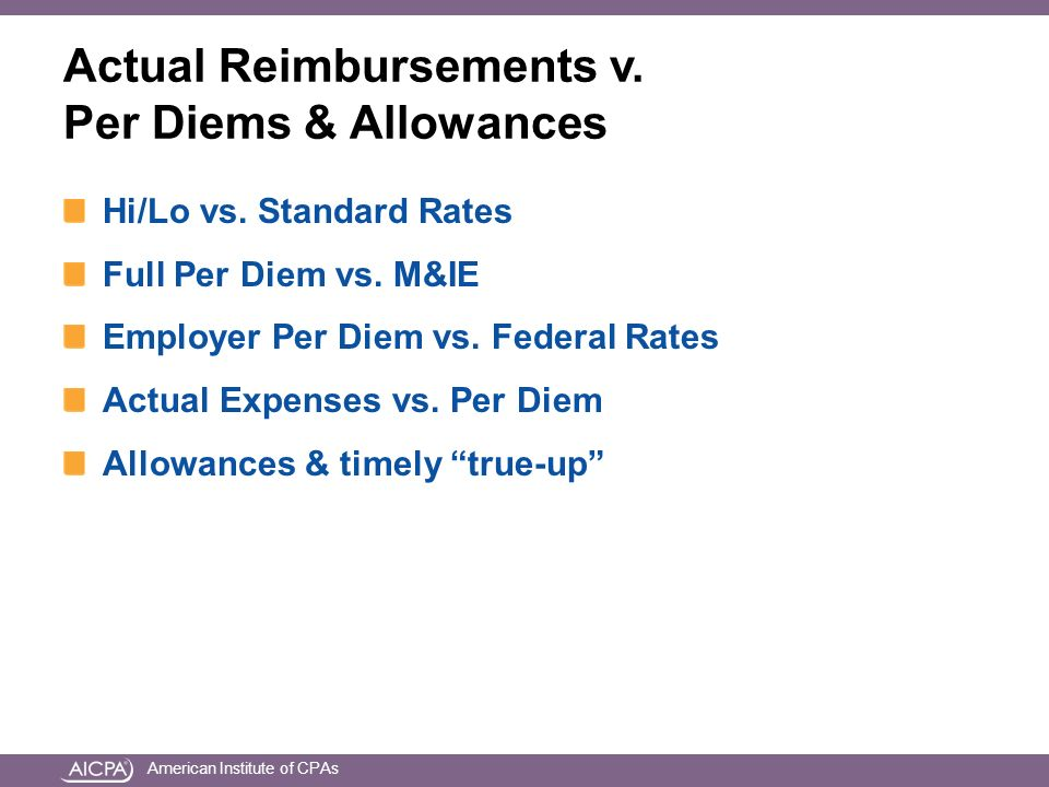 American Institute of CPAs Actual Reimbursements v.