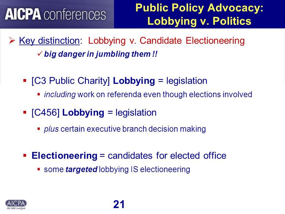 21 Public Policy Advocacy: Lobbying v. Politics Key distinction: Lobbying v.