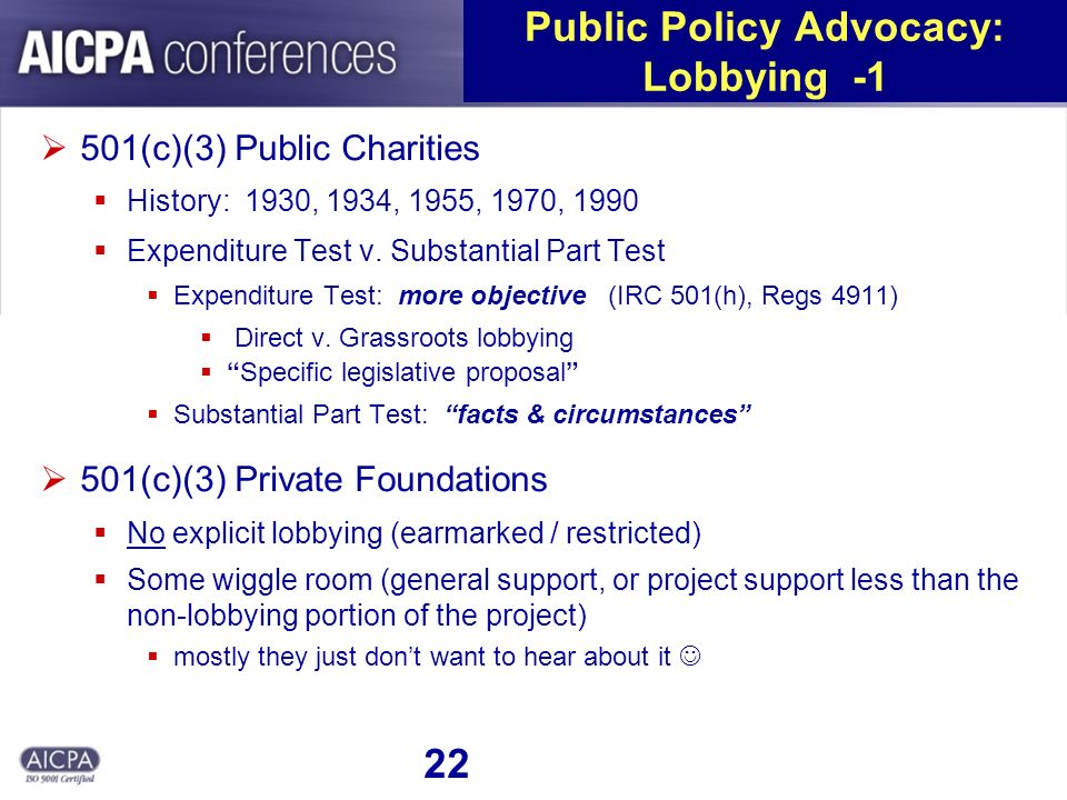 22 Public Policy Advocacy: Lobbying -1 501(c)(3) Public Charities History: 1930, 1934, 1955, 1970, 1990 Expenditure Test v. Substantial Part Test Expe