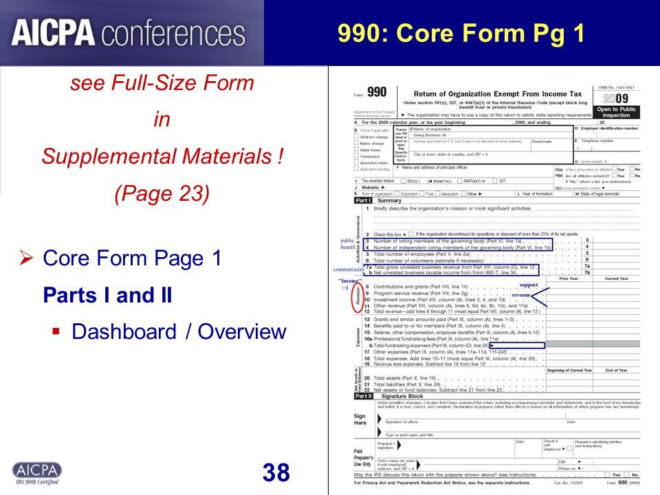 38 990: Core Form Pg 1 see Full-Size Form in Supplemental Materials .