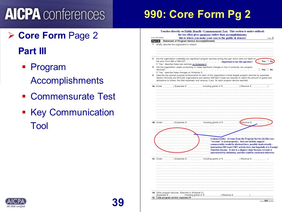 40 990: Core Form Pg 3 Core Form Page 3 Part IV Trigger Questions threshold(s) where IRS has concern