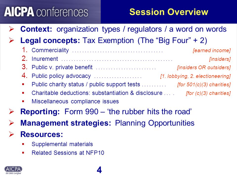4 Session Overview Context: organization types / regulators / a word on words Legal concepts: Tax Exemption (The Big Four + 2) 1.