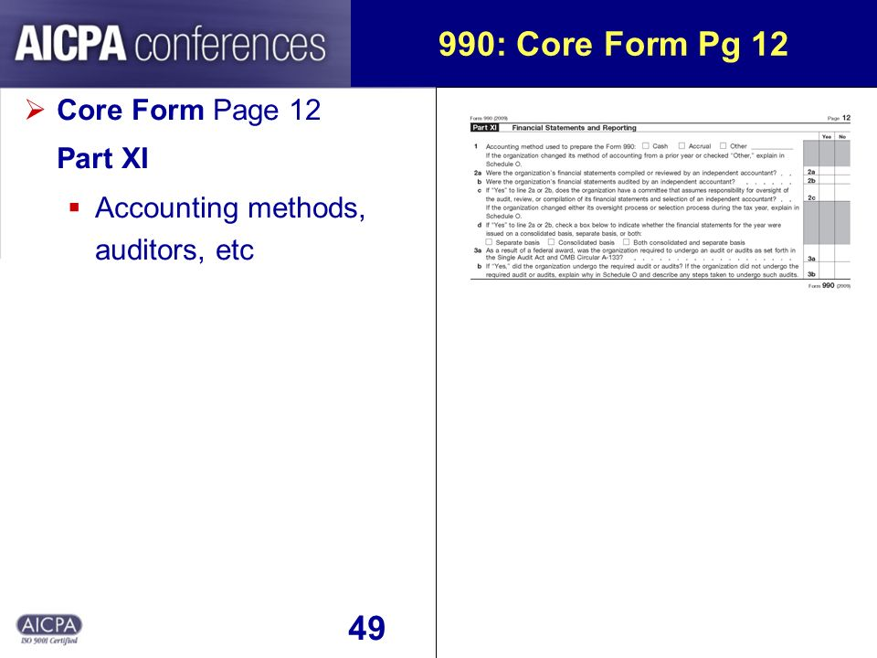 49 990: Core Form Pg 12 Core Form Page 12 Part XI Accounting methods, auditors, etc